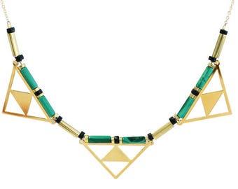 Beaded Bib Necklace with Semi Precious Gemstones