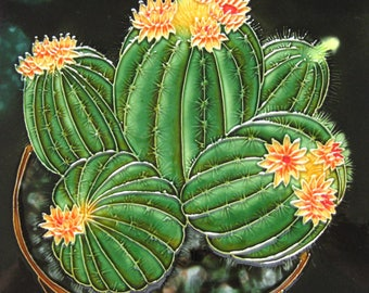 "Hand Painted 8""x8""ceramic art tile--cactus & succulent"