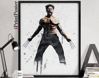 Wolverine poster, Wolverine art print, X-men, Wall art, Wolverine watercolour, Marvel Comics, Home decor, For him, Geekery, iPrintPoster