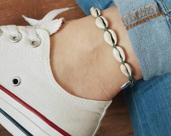 Lucky Shells Anklet/Bracelet, Olive