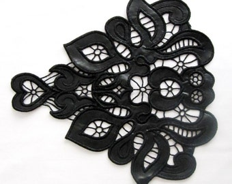 Leather Patch, Faux  Leather Lace, Black Leather Applique ,Leather Embellishment,DIY Craft, Costume Decorations,Fashion Craft