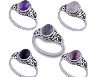 LUNA gemstone silver ring