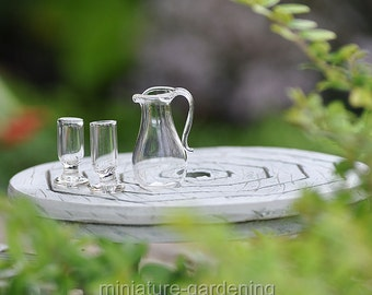Glass Drink Set for Miniature Garden, Fairy Garden, Color: Clear