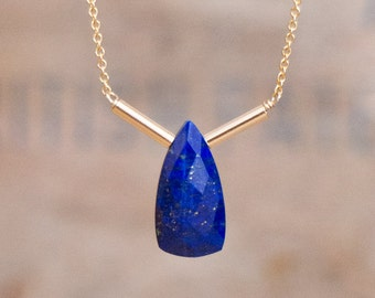Lapis Lazuli Necklace in Silver or Gold, Geometric, Royal Blue Gemstone Necklace, Cobalt Blue Lapis Jewellery, Handmade Jewelry