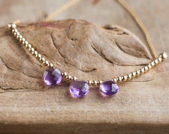 Amethyst Trio Necklace in Silver or Gold, February Birthstone, Dainty Gemstone Jewelry, Delicate Necklace, Purple Amethyst Jewellery