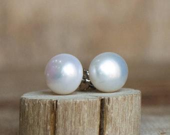 White Pearl Stud Earrings 9mm, June Birthstone, Freshwater Button Pearl Ear Studs, Natural Pearl Sterling Silver Studs, Pearl Earrings