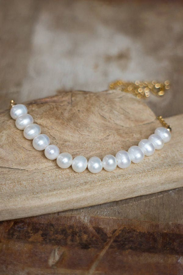 Beaded Pearl Necklace, June Birthstone, White Freshwater Pearl Jewelry, Birthstone Necklace, Wedding Jewellery, Round Pearl Bar Necklace
