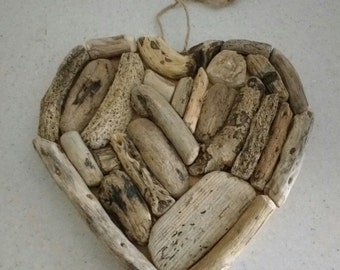 Driftwood heart love wedding birthday gift shore marine beach hand made
