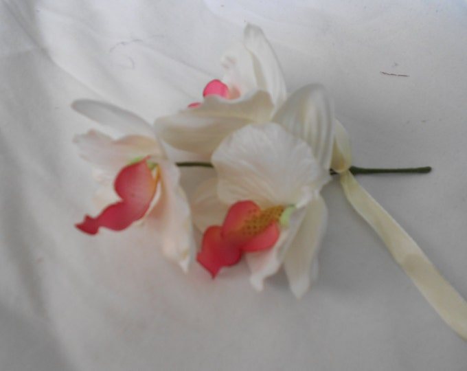 Set of 6 deep ivory triple orquids with coral center  boutonniers or corsages