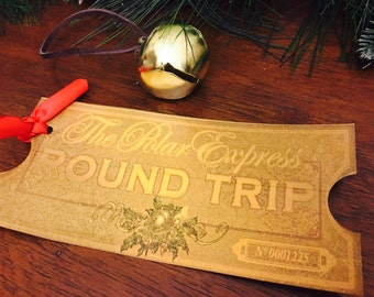Polar Express Golden Ticket, Shiny Ticket, Polar Express Movie Party Birthday, Christmas Bell Ticket Train Ticket Ornament