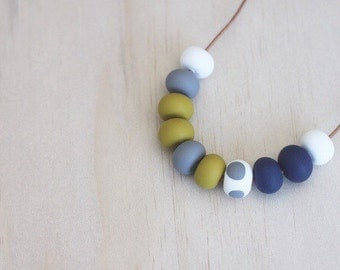 Polymer clay beaded necklace navy, mustard, grey, white, spots 'the adele'