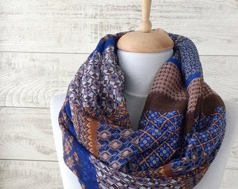 Blue scarf boho scarf infinity scarf summer scarf women fashion infinity summer scarf