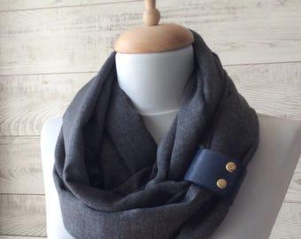 Men scarf, grey scarf, cotton scarf, leather cuff mens scarf, oversized scarf, men scarf women scarf spring scarf, mens  scarves