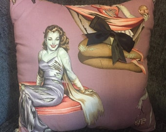 Retro 'zombie pinup' cushion