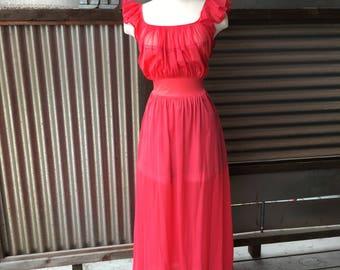 Vintage Red Ruffled Slip Dress L