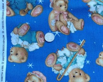 "1999 Cherished Teddies, Bears Remnant 22' X 18"" - Patriotic, Nautical, Sailor ~ 100% Cotton, for quilting and crafts"