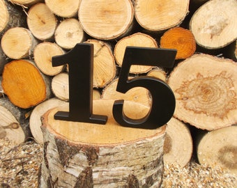 """1-15 5"""" BLACK Free standing numbers, Table decor, DIY, Wooden table numbers, Wedding reception decor, Anniversary, Free standing numbers"""