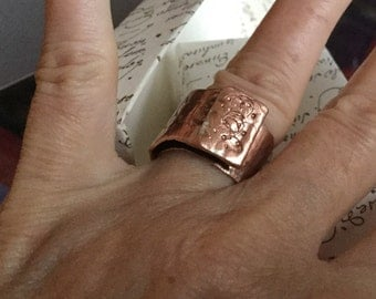 Copper and silver ring, unique, handmade, authentic, open and adjustable, circular motifs, overlapping range. Code FREESHIP