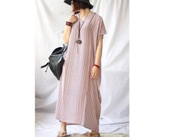 Womens Summer Loose Fitting V Neck Short Sleeve Elegance Oversized Robe Dress, Womans Long Dress, Casual Dress, Beach Dress, Travel Dress
