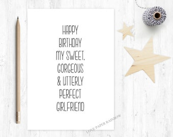 funny girlfriend birthday card, girlfriend birthday card, perfect girlfriend, beautiful girlriend, happy birthday girlfriend, sweet