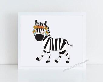 tribal nursery art, zebra nursery print, tribal zebra, zoo nursery decor, zebra wall art, zebra print, nursery wall art, zoo illustration