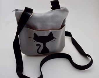 Small Cross Body Gray Cat Purse, Mini cross body cat purse, screen print, Cat purse, everyday bag, Hungry Rhino Studio, cat lover