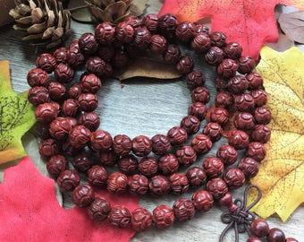 108 8mm Natural Ivory Coast Rosewood Carved Lotus Meditation Prayer Beads Japa Mala Buddha Necklace