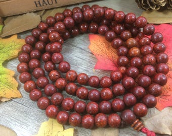 Vintage Old Red 8mm Natural Lotus Seeds Bodhi Beads DIY Spacer Charms Meditation Buddhist Japa Mala Necklace