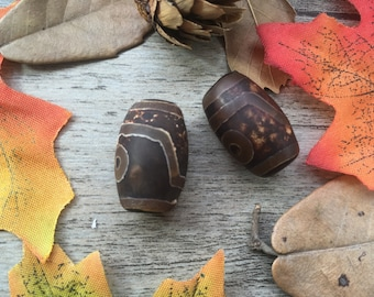 2pcs Old Vintage Tibetan Drum Dzi Beads Agate DIY Spacer Charms Loose  Beads Supplier For Handcrafts Buddha Necklace Mala