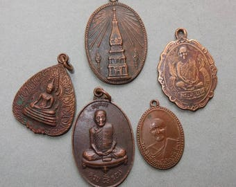 Five Buddhist Copper Amulets Pendants from Thailand, Ethnic Jewelry, Thai Pendants, FREE SHIPPING