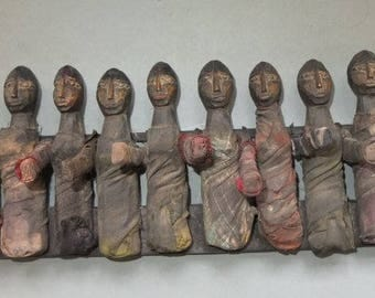 Ceremonial Wooden Folk Sculpture with Ten Female Figures Dolls from Nepal, Nepali Folk Art, FREE SHIPPING