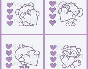 Cute Animals With Hearts Valentine PYO Cookie Stencils (4 separate stencils)