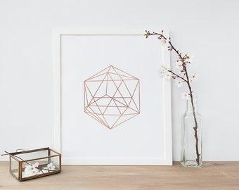 Minimalist Geometric Art, Rose Gold, Abstract Linear Print, Wall Decor, Modern Minimalist Poster, Wall Art