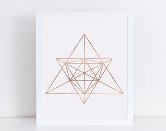 Minimalist Geometric Art, Rose Gold Foil, Abstract Linear Print, Wall Decor, Modern Minimalist Poster, Wall Art