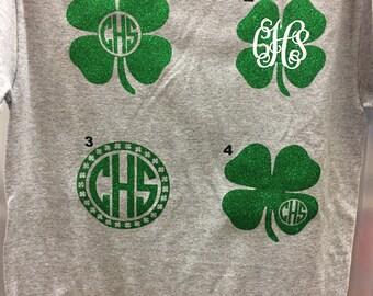 St Patrick's day shirt clover shirt monogram shirt glitter shirt