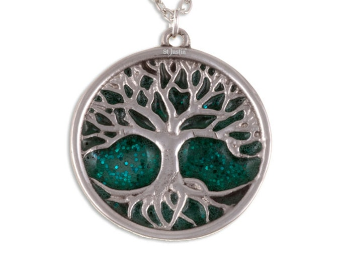 Tree of life pendant with green glitter enamel- Gift For Her -Mom- Birthday- Christmas or Just For You