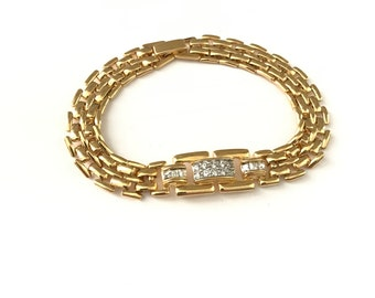 Beautiful Vintage Gold Plated Tennis Bracelet
