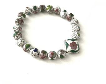 Beautiful Vintage Cloisonne Beaded Stretch Bracelet