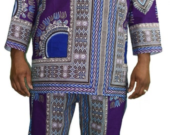 Purple Bahtik Ankara Mens Suit