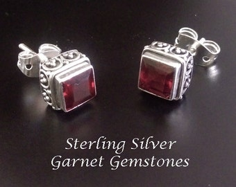 Stud Earrings 184: Elegant Sterling Silver Stud Earrings with Garnet Gemstones | Studs, Silver Earrings, Garnet Earrings, Stud Earrings 184