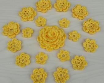 6 Double Crochet Flowers / 6 Crochet Flowers / 6 Crochet Mini Flowers / Big crochet rose