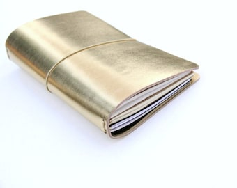 Travelers Notebook, Fauxdori Cover, Bullet Journal, Gold Planner, Midori Travelers Notebook, Midori Insert, Moleskine Cover, Travel Journal