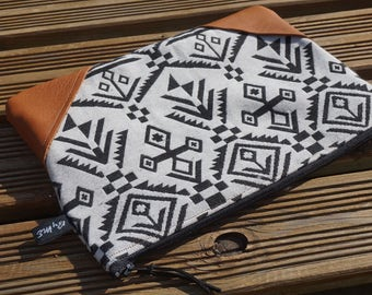 Ethnic clutch, black, white and camel leather
