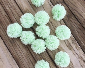12 Light Mint Yarn Pom Poms, Craft Supplies, Party Decor, Yarn Crafts
