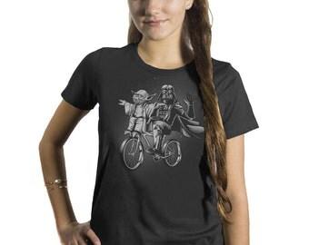 Yoda Shirt - Womens Star Wars Shirt -Darth Vader and Yoda Riding a Bike Hand Screen printed on a Womens t-shirt