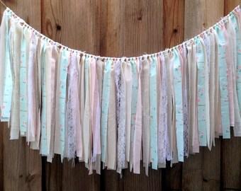 Pink & Blue Rag Tie Garland, Shabby Chic Garland, Shabby Chic Birthday, Shabby Chic Nursery, Baby Shower Decor, Gender Reveal, Fabric Banner