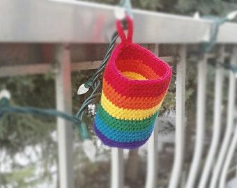 Rainbow Basket, Rainbow, Storage Basket, Crochet Basket, Hanging, Crochet Basket, Small Basket, Crochet, Basket, Nursery Decor, Rainbow Baby