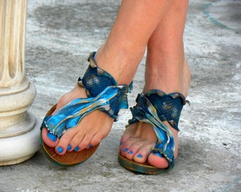 "Greek Handmade Leather Sandals, Women Sandals, Handpainted Sandals ""Aegean"" (handmade to order)"