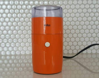 Braun Coffee Grinder Reinhold Weiss Model KSM1 Braun AG Frankfurt West Germany 4024 Mid Century Modern Kitchen 1960's Orange Coffee Grinder