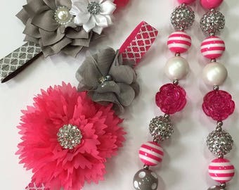 Chunky Bead Necklace and Headband Set, Bubblegum Necklace, Birthday Set, Photo Set